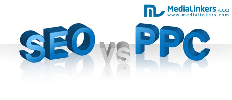 Infographic of SEO Vs PPC Pros and Cons by Medialinkers